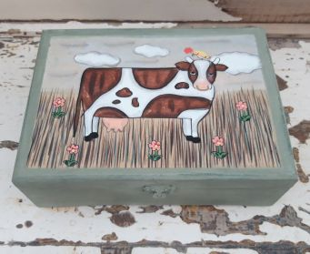 Green Box With Cow Motif