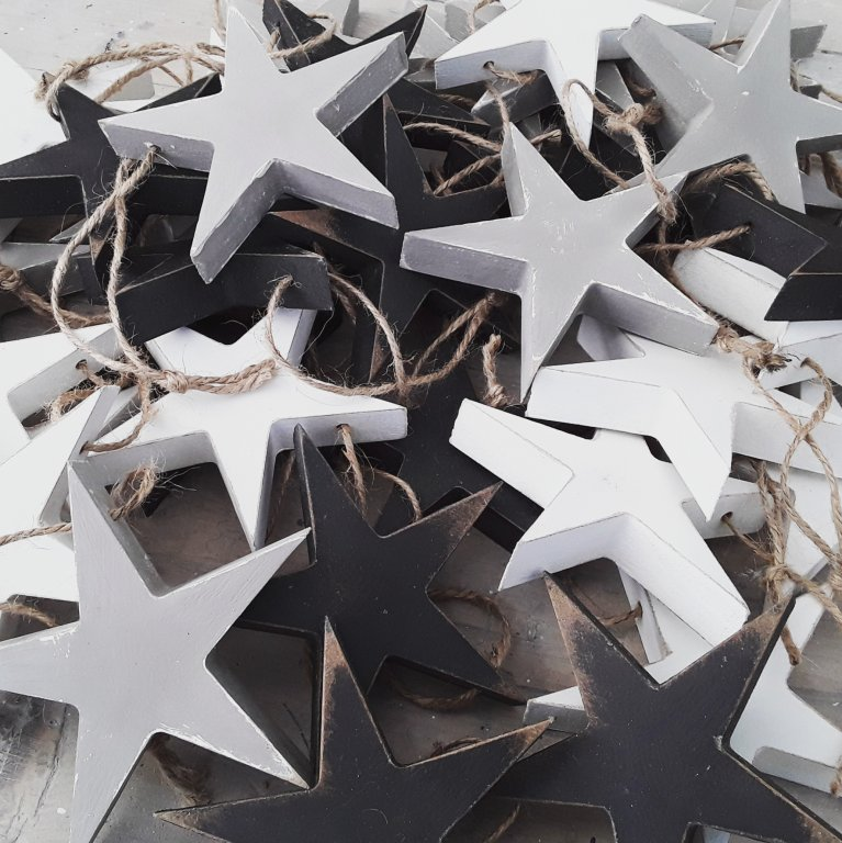 Handpainted Wooden Star Decorations