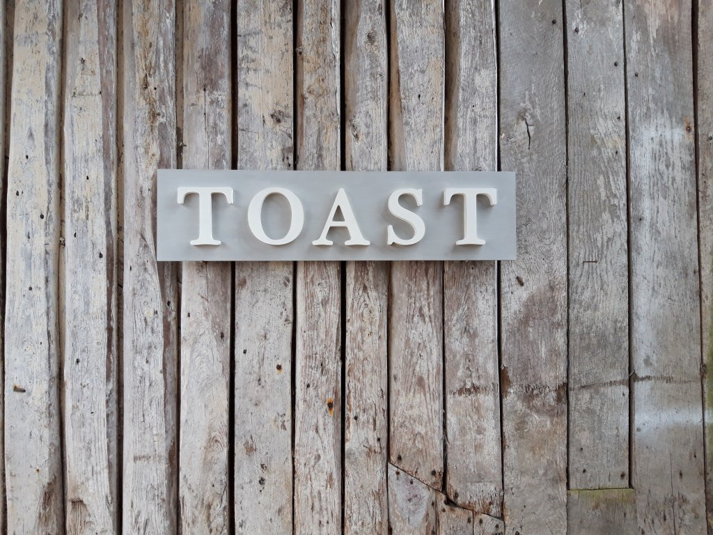 Painted Wooden TOAST Sign