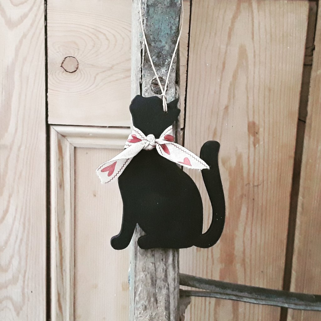 Hand Painted Hanging Wooden Cat Decoration