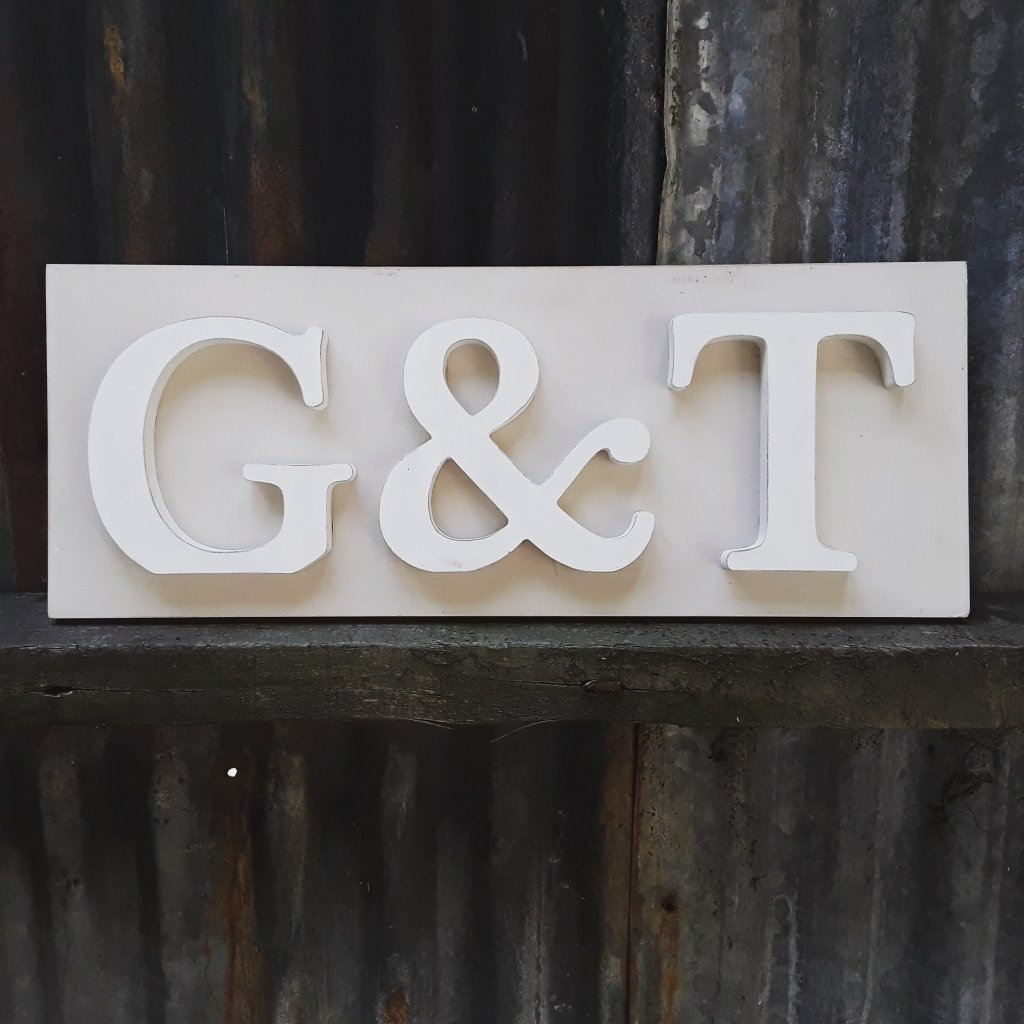 Painted Wooden G &T Sign