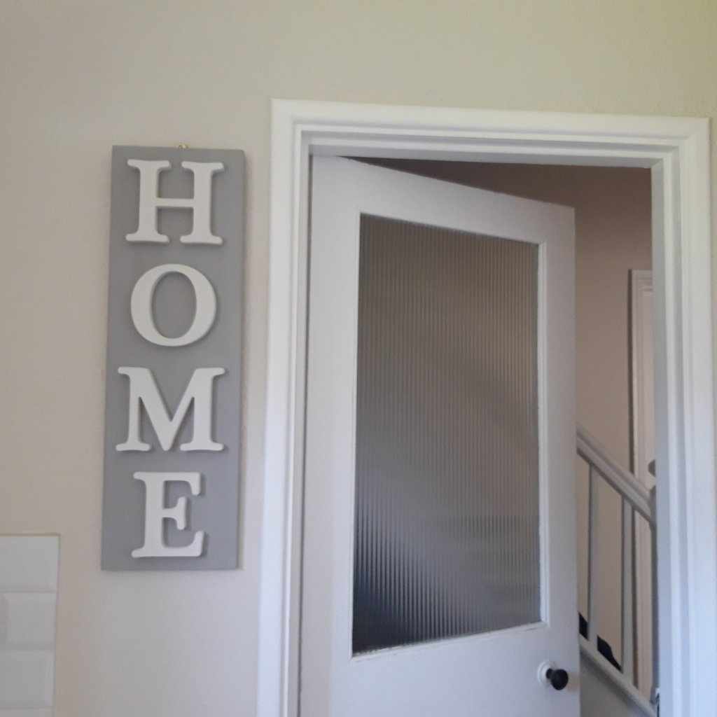 Vertical HOME Sign Paris Grey and Old White